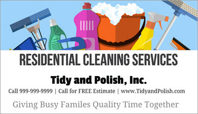 House Cleaning Business Card Sample